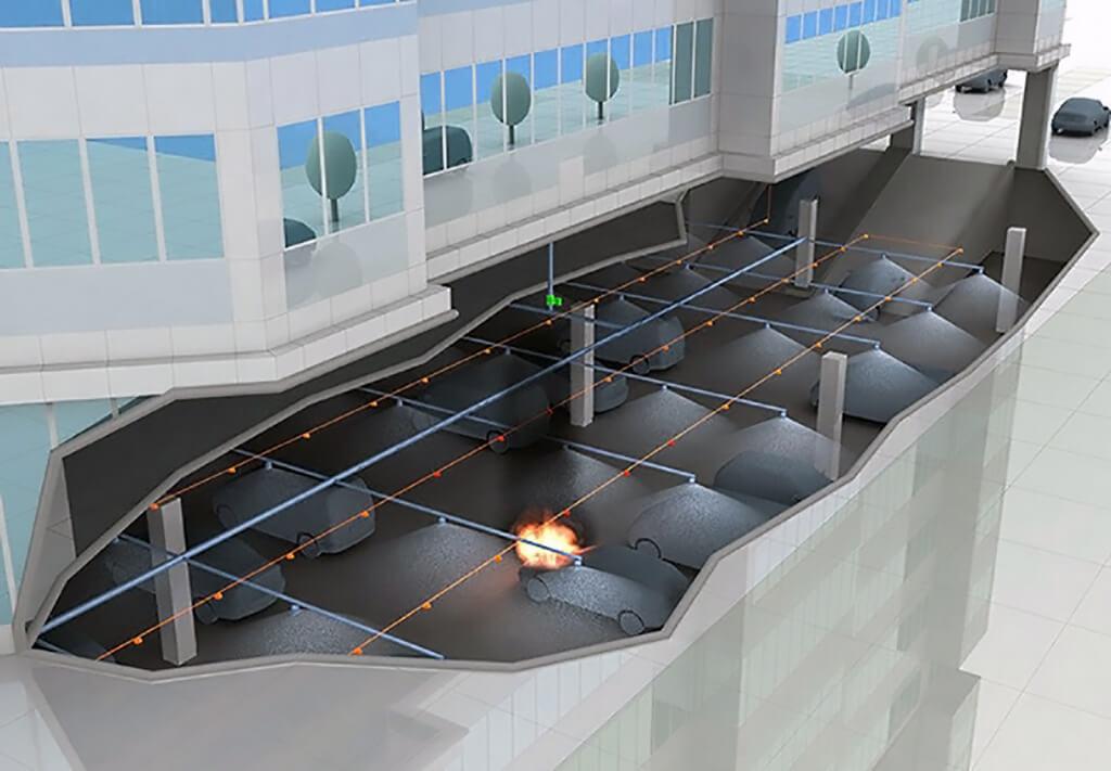 Рис. 2-1. Спринклерная система пожаротушения в подземном паркинге.jpg